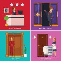 ilustração em vetor conceito de design 2x2 para funcionários do hotel