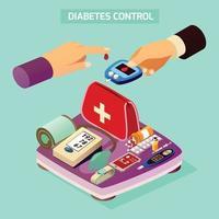 ilustração vetorial de composição isométrica para controle de diabetes vetor