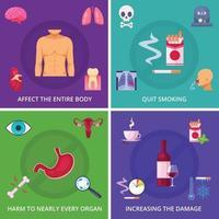 Fumar perigo 2x2 design conceito ilustração vetorial vetor