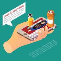 ilustração vetorial de composição isométrica de monitoramento diabético vetor