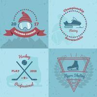 ilustração vetorial 2x2 emblemas de esportes de inverno vetor