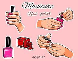 conjunto de vetores de manicure