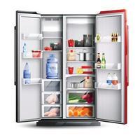 geladeira aberta vermelha com ilustração vetorial de produtos vetor