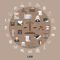 ícones da lei composição redonda vetor