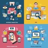 ilustração em vetor conceito de design de marketing de internet