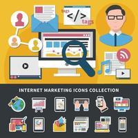 ilustração em vetor coleção ícones de marketing de internet