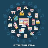ilustração em vetor composição rodada marketing na internet