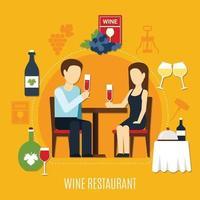 ilustração em vetor restaurante vinho liso