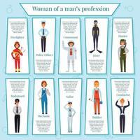 ilustração vetorial de infográficos de profissões femininas vetor
