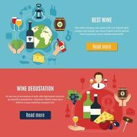 banners plana de vinho definir ilustração vetorial vetor