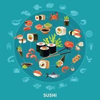 composição redonda de sushi vetor