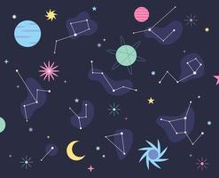 planetas terrestres e padrões de constelação. modelo de design de padrão simples. vetor