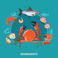 composição de ingredientes de sushi vetor