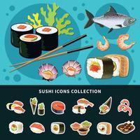 composição plana de sushi vetor