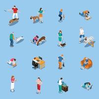pessoas com animais de estimação definir ilustração vetorial vetor