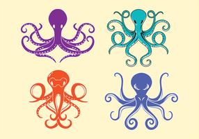 Polvo e tentáculos simétricos vetor
