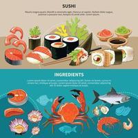 conjunto de banner plano de sushi vetor