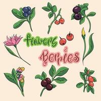 conjunto de flores de desenho animado. ícones de frutas e flores. vetor