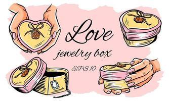 conjunto de caixa de joias em forma de coração. vetor