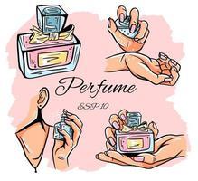 conjunto de ilustração vetorial de frascos de perfume. vetor