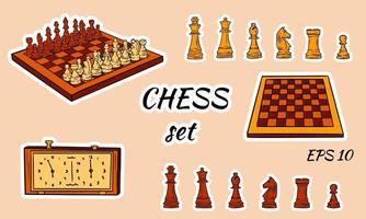 conjunto de peças de xadrez de desenho animado vetor
