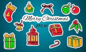 conjunto de ícones coloridos lindos de feliz Natal. vetor