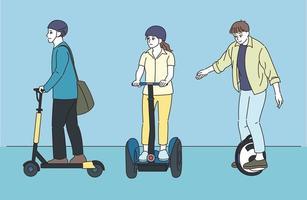 pessoas em veículos com rodas. mão desenhada estilo ilustrações vetoriais. vetor