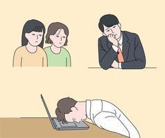 personagens de pessoas com expressões faciais de sono. pessoas cochilando no escritório. mão desenhada estilo ilustrações vetoriais. vetor