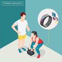 ilustração vetorial de fundo isométrico de pulseira de fitness vetor