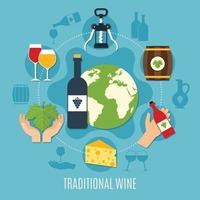 ilustração em vetor conceito vinho liso
