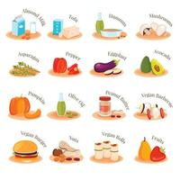ícones lisos de pratos vegetarianos veganos ilustração vetorial vetor