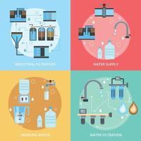 ilustração em vetor conceito design plano de limpeza de água