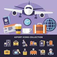 coleção de ícones de aeroporto vetor