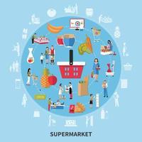 ilustração vetorial de composição redonda de supermercado vetor