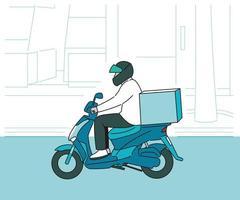 um entregador de capacete está correndo em uma motocicleta. mão desenhada estilo ilustrações vetoriais. vetor