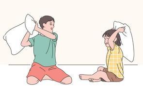 irmão e irmã estão brigando de travesseiros. mão desenhada estilo ilustrações vetoriais. vetor