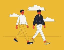 dois homens modelo estão andando na rua na mesma pose. mão desenhada estilo ilustrações vetoriais. vetor