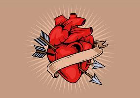 Modelo de tatuagem de coração vetor