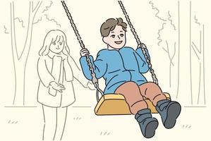 um menino está andando em um balanço. mão desenhada estilo ilustrações vetoriais. vetor