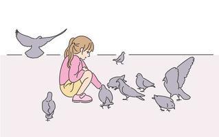 a menina e os pombos no parque. mão desenhada estilo ilustrações vetoriais. vetor