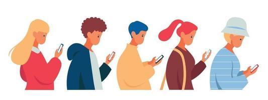pessoas andam olhando para seus telefones celulares. mão desenhada estilo ilustrações vetoriais. vetor