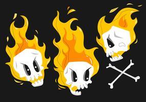 Personagem de desenho animado engraçado crânio flamejante pose ilustração vetorial