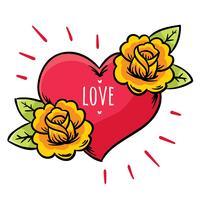 Coração e flores tatuagem vector