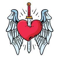 Coração de asas e vetor de tatuagem de espada