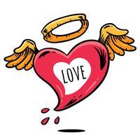 Vetor de tatuagem de coração voador