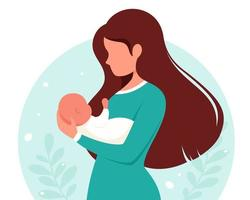 mulher com bebê. maternidade, conceito parental. dia das Mães. ilustração vetorial. vetor