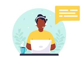 homem negro com fones de ouvido trabalhando no computador. atendimento ao cliente, assistente, suporte, conceito de centro de atendimento. ilustração vetorial. vetor