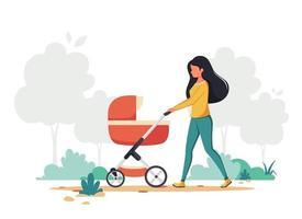 mulher andando com carrinho de bebê. atividade ao ar livre. ilustração vetorial. vetor