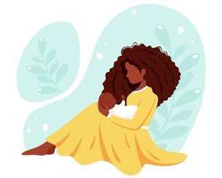 mulher negra sentada com o bebê. maternidade, conceito parental. dia das Mães. ilustração vetorial. vetor
