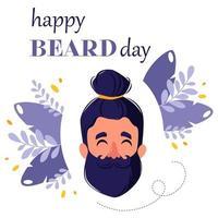 dia mundial da barba. homem barbudo. conceito moderno. cartão de felicitações. ilustração vetorial vetor